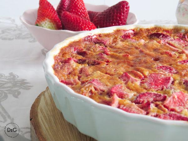 clafoutis sin gluten de fresas