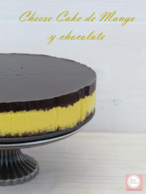 tarta de queso, mango y chocolate sin gluten