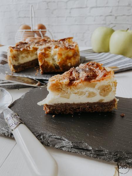 tarta de queso mascarpone, manzanas y canela sin gluten