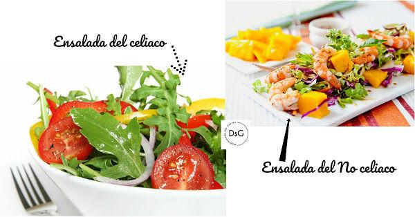 ensalada celíacos versus ensalada no celíacos