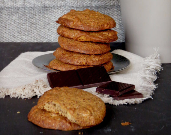 Galletas de chocolate, avena y nueces