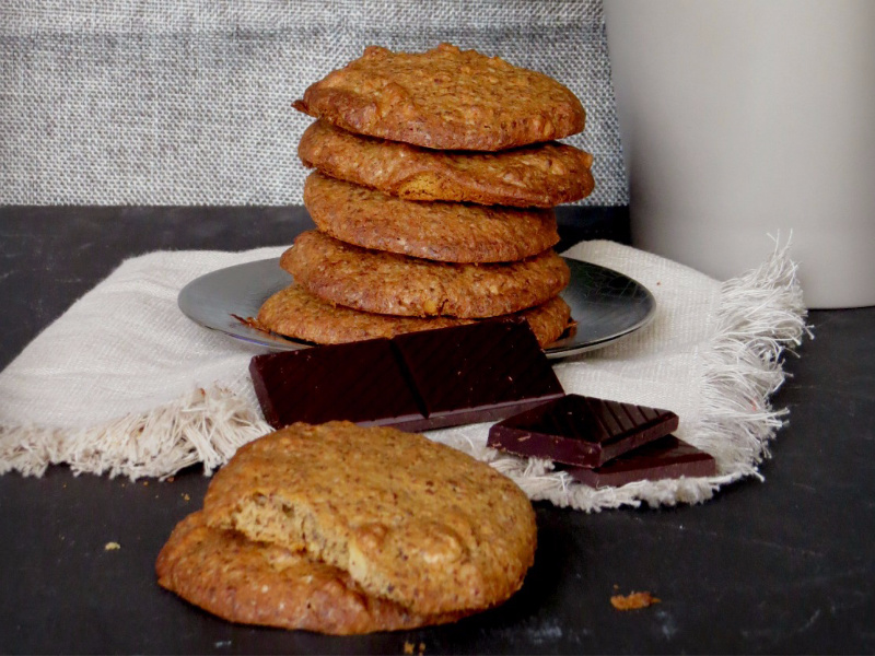 galletas sin gluten de avena, chocolate y nueces