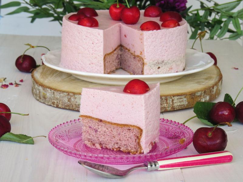 tarta mousse de cerezas sin gluten