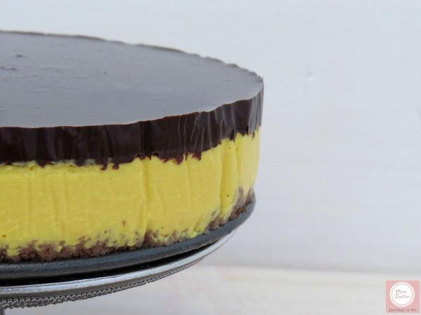tarta de queso, chocolate y mango sin gluten