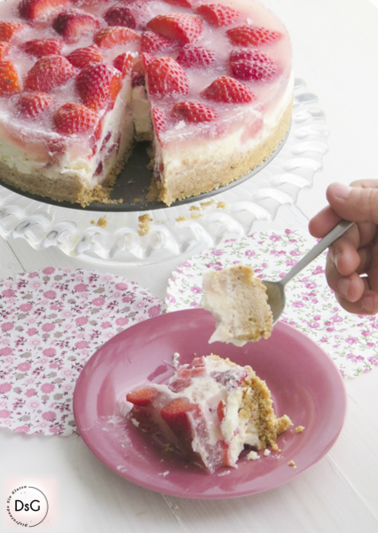 receta tarta de queso y fresas sin gluten
