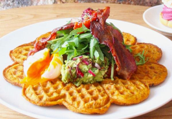 waffle sin gluten del café Maraeva de Paris