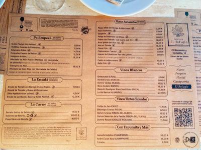carta restaurante el refugio sin gluten