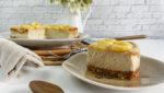 Tarta de queso, plátanos y canela