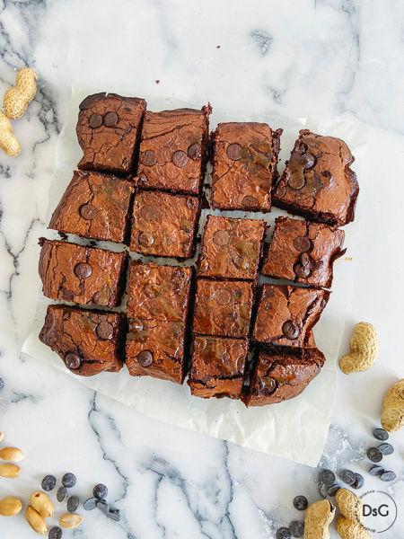 Brownie sin gluten de cacahuetes