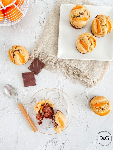 Muffins de chocolate y albaricoques sin gluten